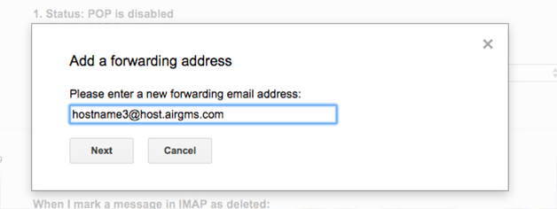 Integration via e mail forwarding on the example of gmail airgms add a forwarding address publicscrutiny Image collections