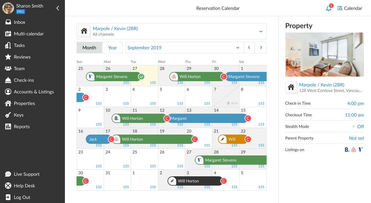 iGMS Single Property Calendar Reservations