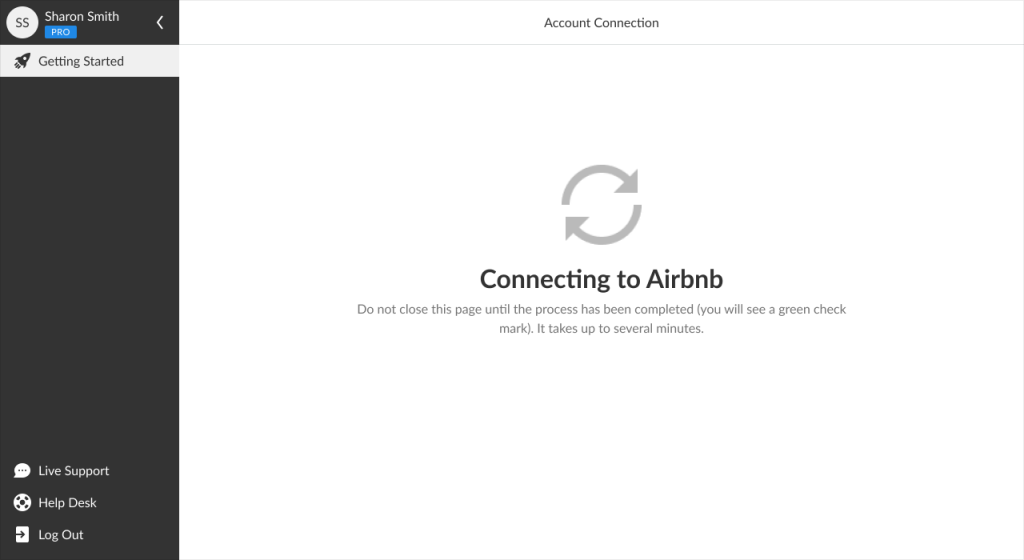 iGMS Getting Started Page connecting an account to Airbnb