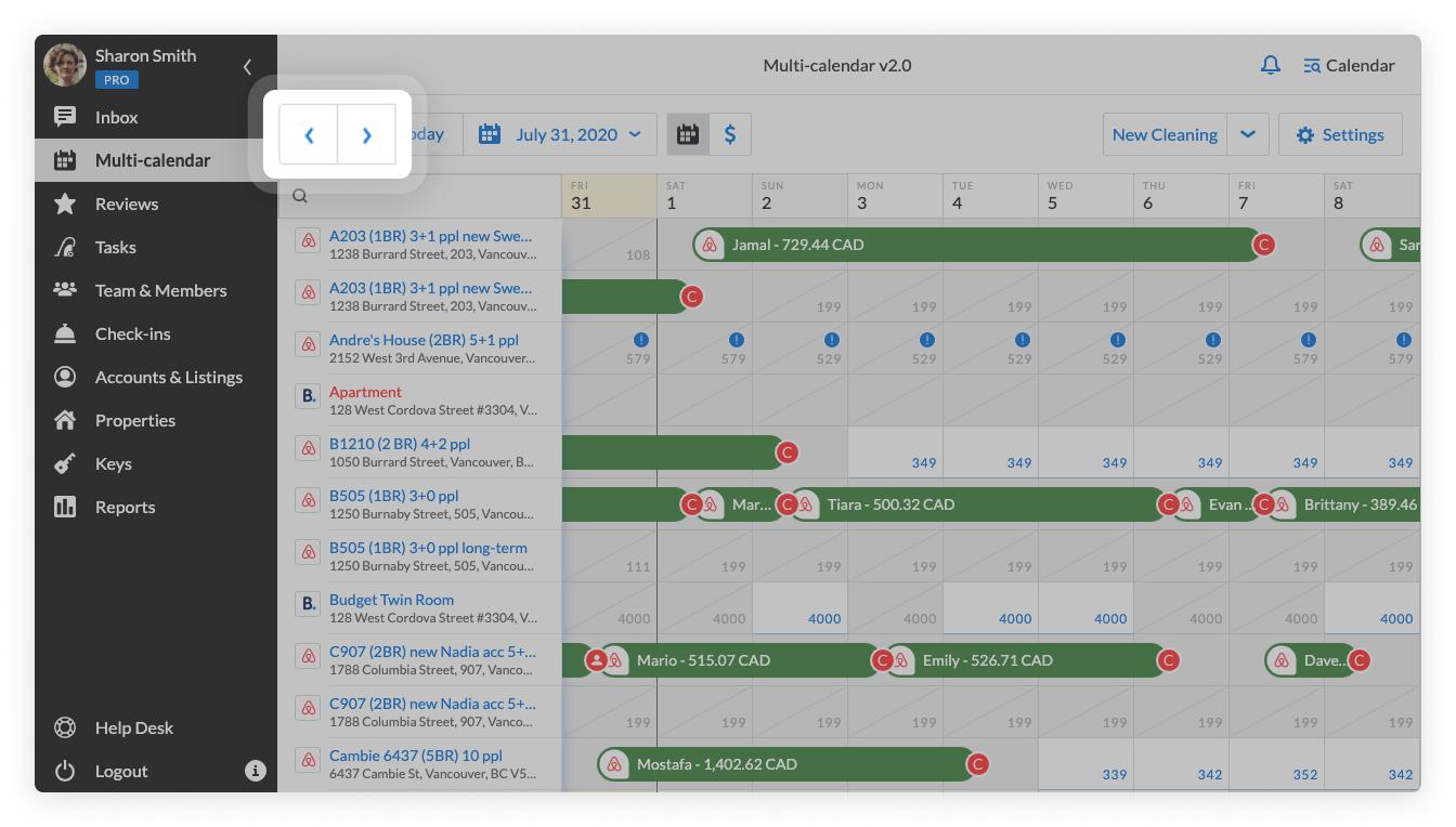 Multi-calendar 2.0 arrows