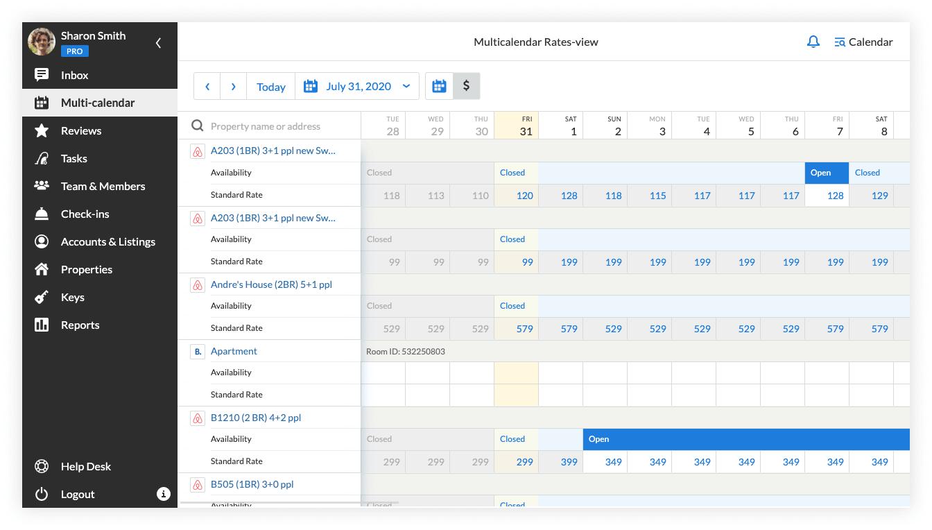 Multi-calendar 2.0 rates view