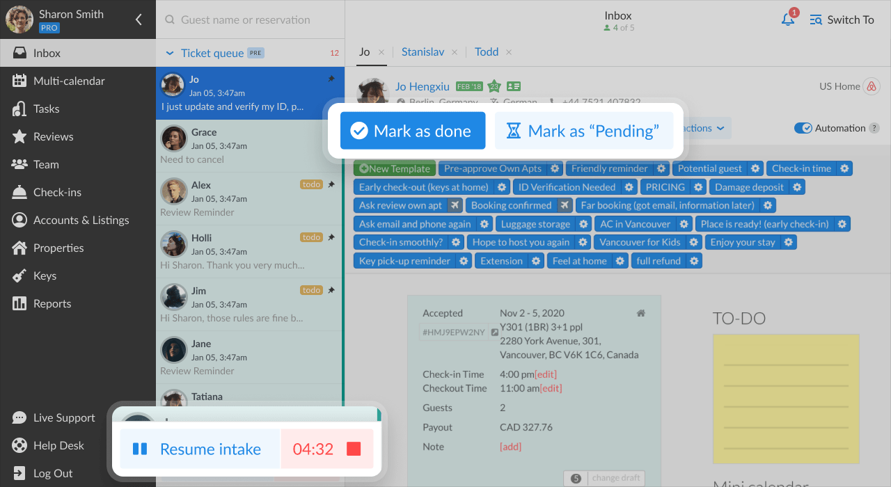iGMS Inbox PROtracj Resume Intake Mark as done Mark as Pending