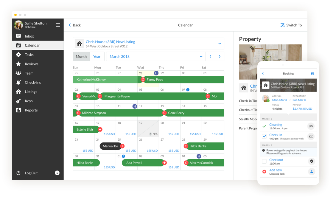 airbnb management, vacation rental software feature