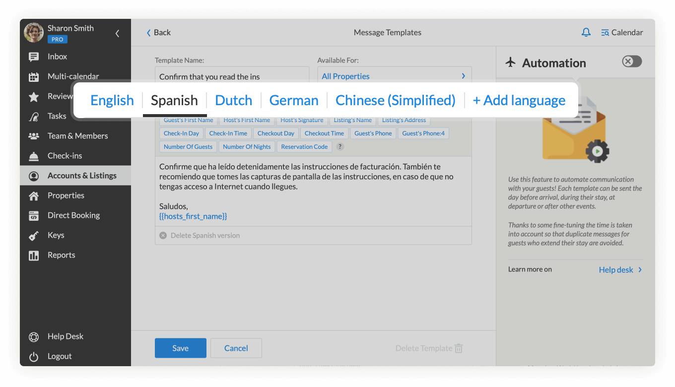 Multilingual support for Message Templates