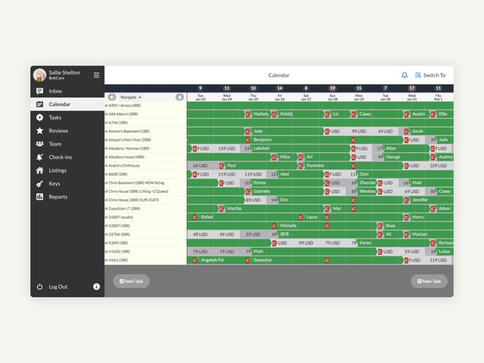 Airbnb management software calendar