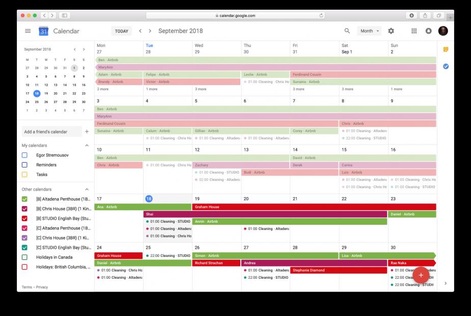vacation rental calendar to Google Calendar