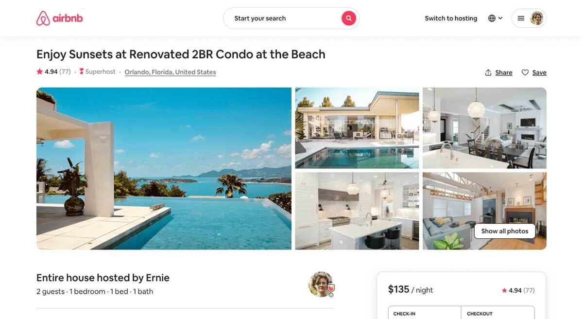 Airbnb listing photos