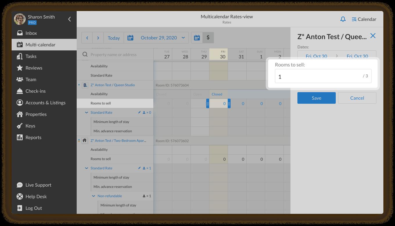 iGMS Multi-calendar rates view