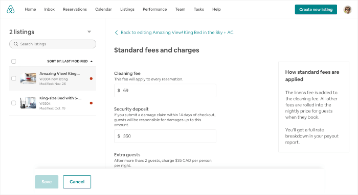 Airbnb cleaning fee change on profile