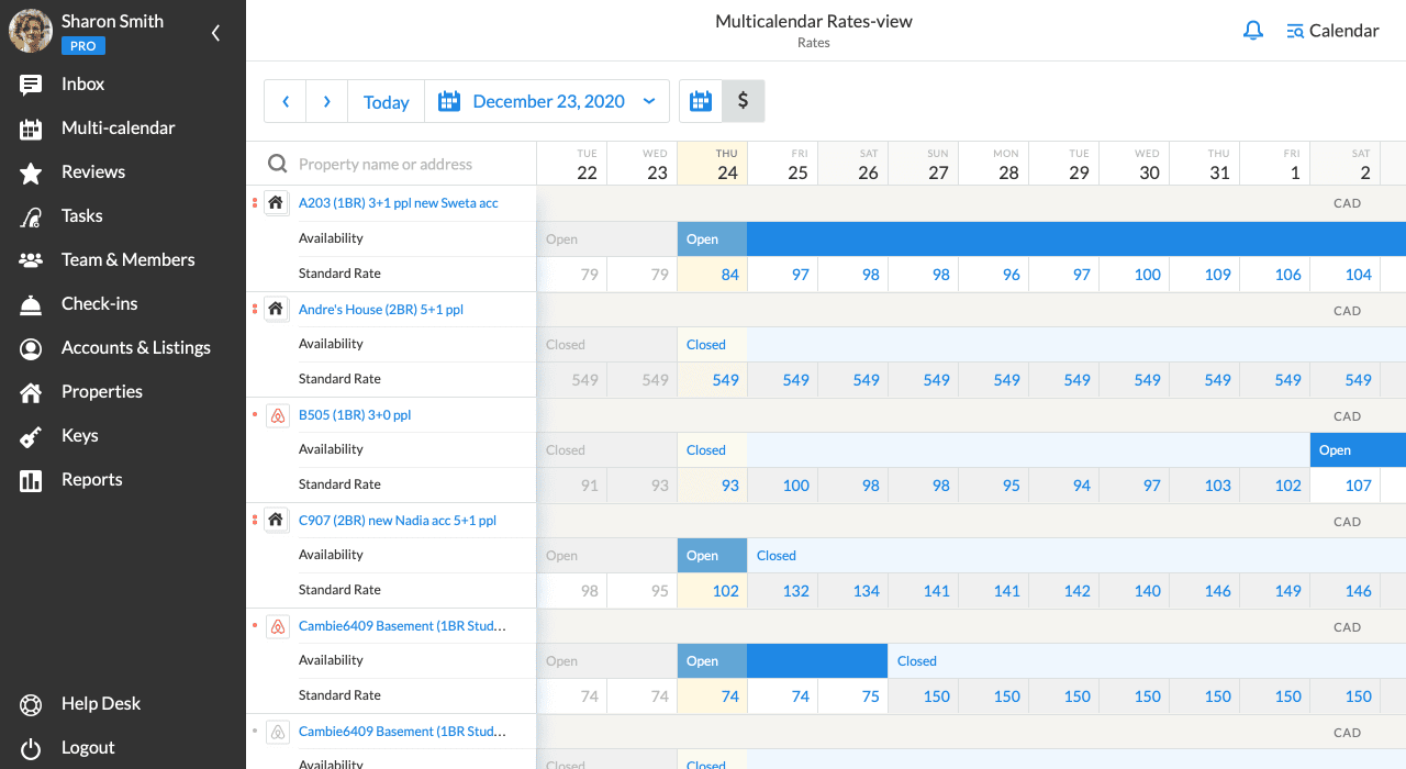 iGMS Multi-calendar rates-view