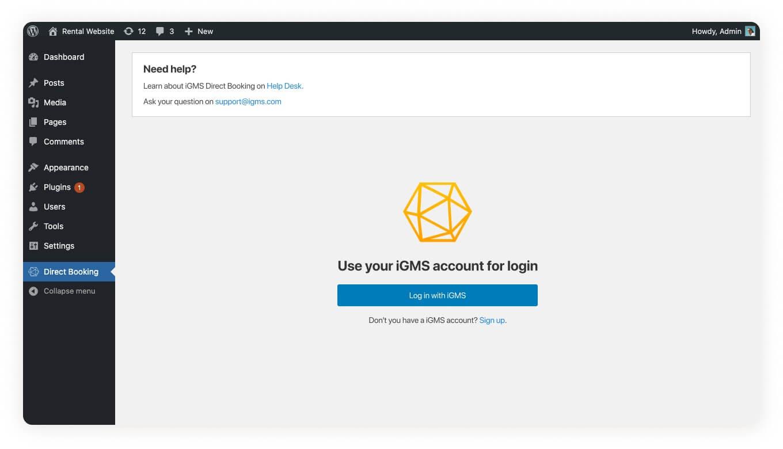 iGMS Direct Booking WordPress Plugin Log in with iGMS