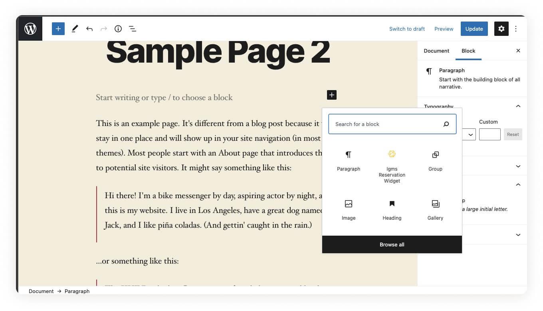 WordPress Blog Post Sample Page Add Block iGMS Reservation Widget