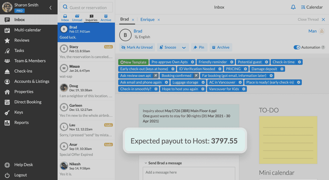 iGMS Inbox Inquiry Expected Payout