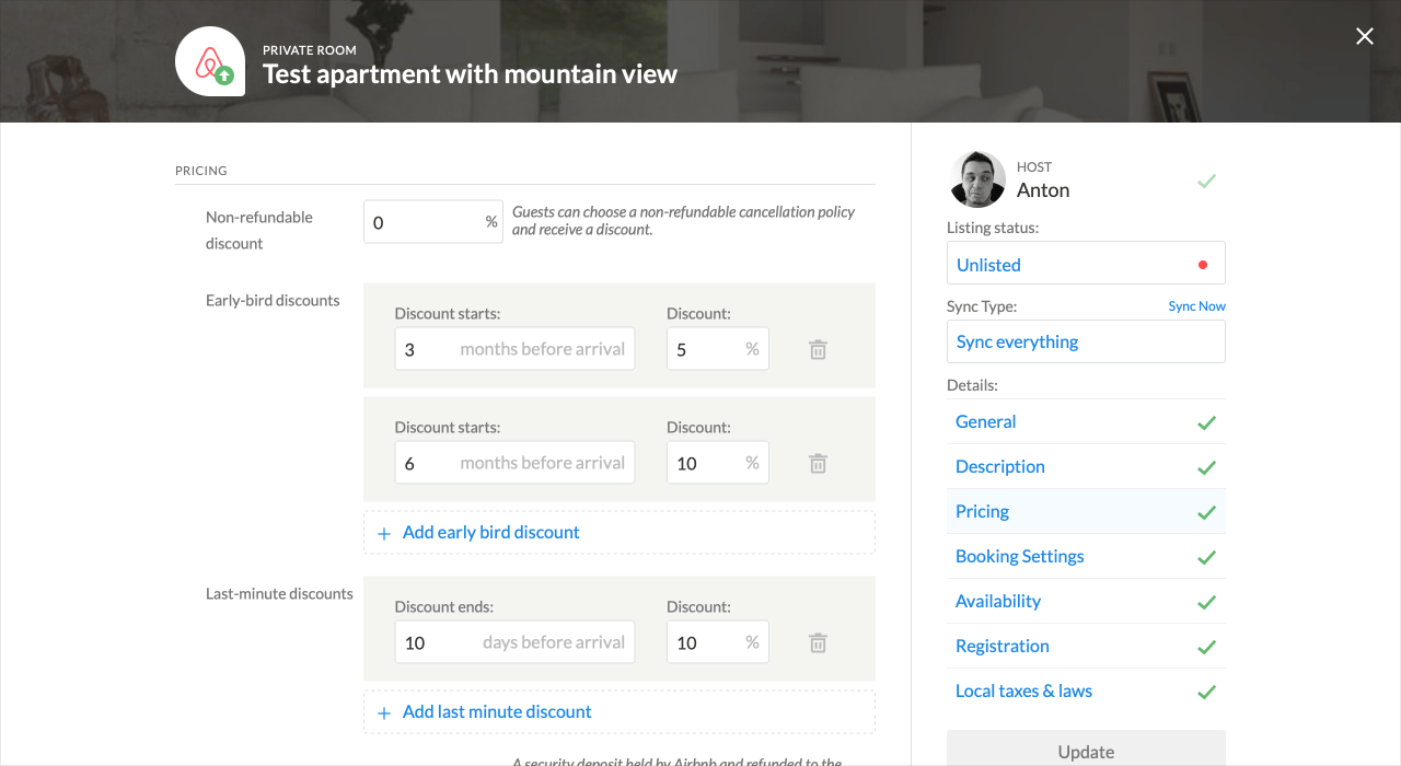 iGMS Listing Editor Airbnb Last Minute Early Bird Discount
