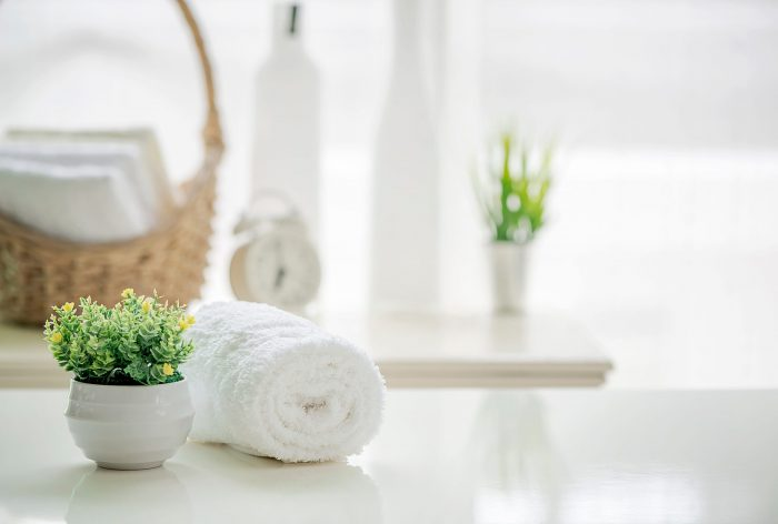 A clean surface and towel as instructed in an Airbnb cleaning checklist
